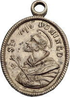 1800-1850 Antique Christian Medal Pendant SAINT DOMINIC & Jesus Christ i63536