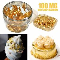 100mg 24K Gold Leaf Flakes For Edible Food Decor Foil Nail Art Crafting Decor