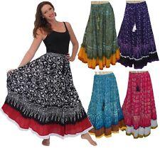 Boho Gypsy Maxi Skirt - Gauzy Rayon Batik Pom Pom - All Sizes LotusTraders R907
