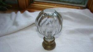 ANTIQUE 19th C. CUT GLASS BALL NEWEL POST FINIAL brass base