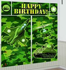 CAMO SCENE SETTER Camouflage Birthday Party Decorations Army Backdrop Jet Tank