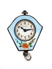 Guilloche Enamel Pendant Watch Asis Vintage Ultus Watch Co Sterling Silver