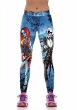 Nightmare Before Christmas Jack & Sally One Size Fits Most Blue Novelty Leggings