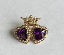 14k Krementz Amethyst Seed Pearl & Amethyst Crowned Hearts Brooch Pin