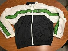MENS VINTAGE FILA WHITE, GREEN AND BLACK FULL ZIP WINDBREAKER JACKET SIZE LARGE