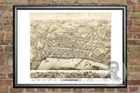 Old Map of Middletown, CT from 1877 - Vintage Connecticut Art, Historic Decor