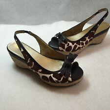 Me Too Janice Slingback Espadrille Peep Open Toe Sandal Giraffe Fur Womens 5 M