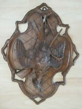 QUALITY ANTIQUE BLACK FOREST GAME BIRD HUNTING PLAQUE SWISS WOOD CARVING