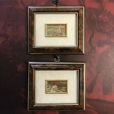 2 Miniature Oro Foglia Art Prints Framed Picture Gold Foil Leaf Italy Landscape