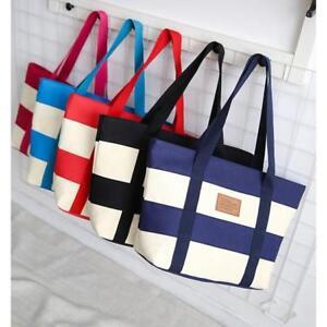 Beach Bag Womens Ladies Large Striped Summer Shoulder Shopper Tote Canvas Bag JA