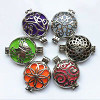 New Chic 6PCS Silver Locket Essential Oil Aromatherapy Diffuser Necklace Pendant