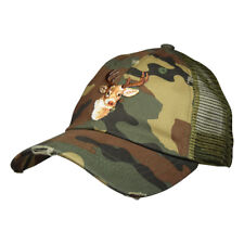 Buck Mount Camo Trucker Hat by LET'S BE IRIE -  Distressed Camouflage Snapback