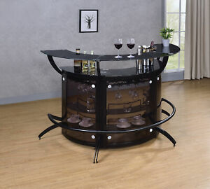 Modern Contemporary Black 2-Shelf Curved Bar Wine Cabinet TableWith Glass Top