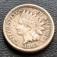1864 Indian Head Cent 1c Higher Grade VF Det. Copper Nickel #21893