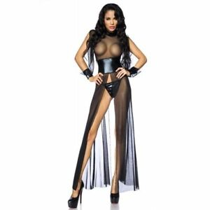 Sexy Fetish Mesh Bodycon PVC Faux Leather Nightwear Clubwear long dress jumpwear
