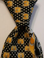 VITALIANO PANCALDI Men's Silk Necktie ITALY Luxury Geometric Black/Yellow EUC