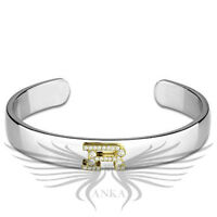 Ladies Beautiful Rhodium Plated Open Cuff Bangle Accented Bracelet LO3628