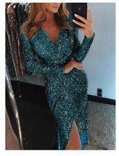 Womens Sparkly Sequin Evening Party Sexy Bodycon Dress Metallic Wrap Split dress