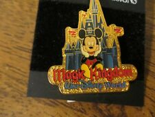 DISNEY MAGIC KINGDOM MICKEY SITTING IN FRONT OF CASTLE LOOKING AT MAIN ST. PIN