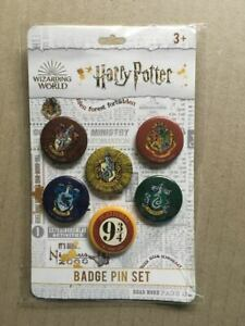 ~ HARRY POTTER ~ Pin Badge Set ~ 6 Pack ~ Hermione ~ Ron ~ Hogwarts ~ NEW ~