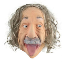 Albert Einstein Mask Latex Old Man Mask with Wig Celebrity Human for Masquerade