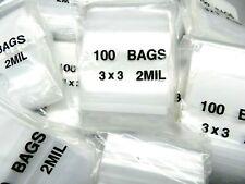 3x3 White Block Zip Seal Lock Bags 2 Mil 3 Square Baggies Writeable 1000 Pcs