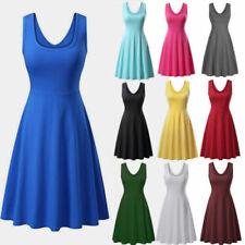 Mini Line Casual Sleeveless Party High Skirt Skater Dress Women Swing Waist