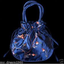 Chinese Women's Embroider Flower Blue Handbags Silk Satin Jewelry Bag Pouches