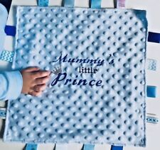 PERSONALISED BABY NAME COMFORTER NEWBORN BOY MUMMY'S LITTLE PRINCE BLANKET GIFT