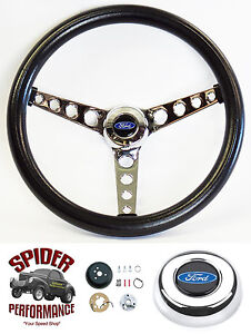 "1970-1977 Maverick T-Bird Pinto steering wheel BLUE OVAL 14 1/2"" CLASSIC CHROME"