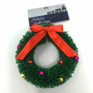 3 x 10cm Mini Christmas Wreaths. Hanging Tree Decoration Festive Ornament