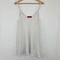 Tigerlily Women's Cami Stripe White Gold Tank Top Swing Braid Metallic Size 12
