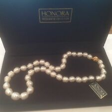 "NWT ""HONORA"" Freshwater Baroque White Pearl  14kt YG 16"" Necklace Blk Velvet Box"