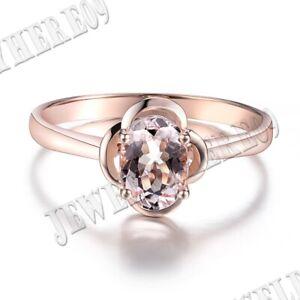 10K Rose Gold Prong Setting Oval 7x5mm Morganite Engagement Wedding Flower Ring