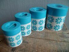 collection vintage 1970'S 4 pots à épices en tôle lithographiée