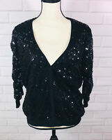 Lauren Conrad Black Sequin Snap Front Cardigan Holiday Christmas Party Large