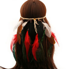 Lady Girl Head bands Hairband Feather headdress Hippy Boho Indian Festival Party