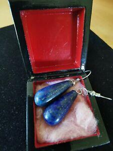Ohrringe Ohrhänger Lapislazuli Silber beschichtet Tropfen Damen