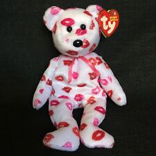 Ty Beanie Baby 2003 Kissy White Bear Pink Red Lips Kiss Valentines Day Plush Toy