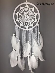 Laced style white Weeding dream Catcher with nature roosters feathers #30