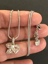 "Authentic Swan Signed Swarovski Crystal Hearts Pendent Necklace 16"" Long"