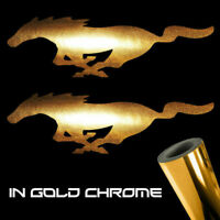 "2x Ford Mustang Decal Stickers 3.0"" x 0.9"" Metallic gold chrome logo die cut"