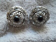 """Premier Designs"" Pierced Earrings, Silver Tone Metal, Open Work, BlacK Bead"