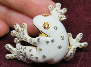 Signed Joan Rivers Crystal Accent Ivory White Enamel Tree Frog Brooch Pin