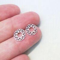 Kreis rund Bali Design Ohrringe Ohrstecker Stecker 925 Sterling Silber neu