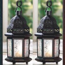 2 Black Lantern Clear Glass Small Candleholder Wedding Centerpieces