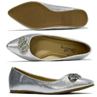 Ladies Flat Pumps Slip On Ballet Ballerina Dolly Bridal Diamante Shoes Silver