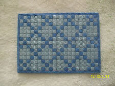 "Doll House Handmade Needlepoint Lt. Blue w/ Med. Blue Design Rug  3.5"" x 4.75"""