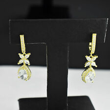 Gold Finish Dangle Earring For Women. Solid Pear & Marquise Shaped 14K Yellow