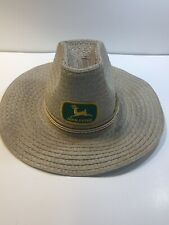John Deere Tractor Farm Equipment Straw Woven Hat Cowboy Size M